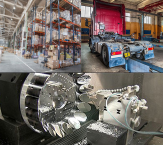 3 images of a warehouse, optics machine and a Diesel truck