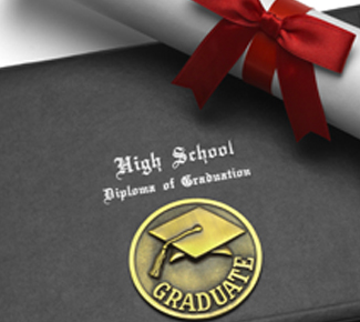High school diploma and cover
