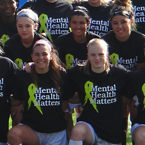 "Student Athletes sport ""Mental Health Matters"" shirts before semi-finals."