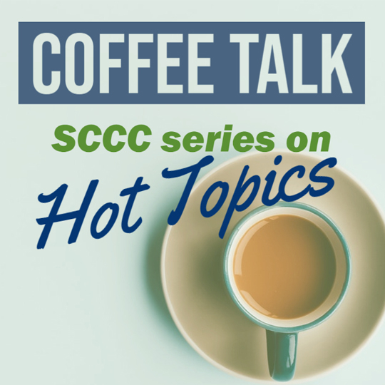 Image of a coffee cup on a green background with Coffee Talk, SCCC services on Hot Topics.