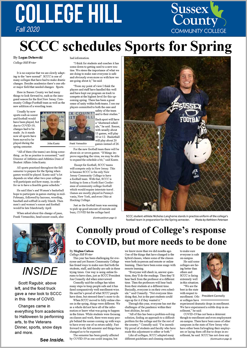 Front cover of the College Hill, student newspaper