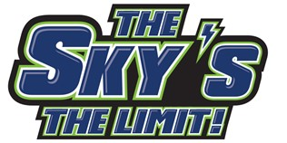 "logo in blue and lime saying ""The Sky's the Limit""!"