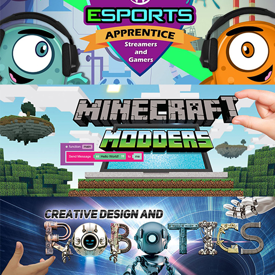 Image of esports, Minecraft and Robotics games, colorful image of each game.