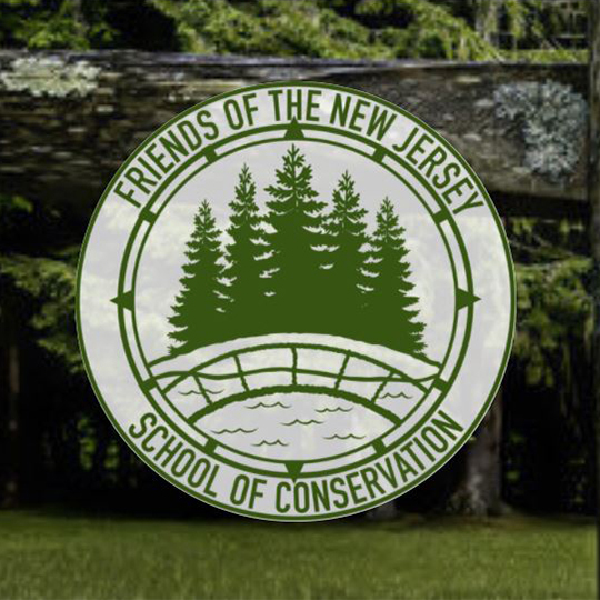 Friends of the NJ School of Conservation round logo in green and white with a landscape background